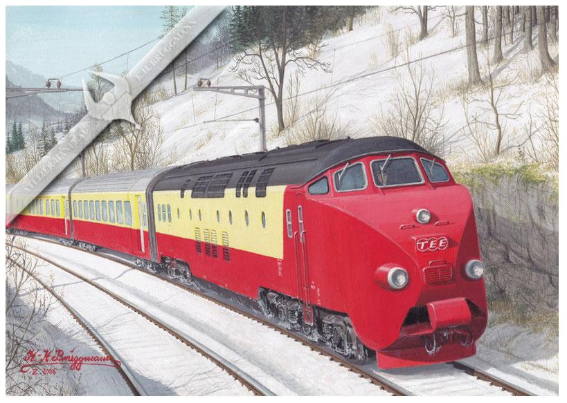 Dieseltriebwagen NS / SBB TEE RAm 501 Zürich-Amsterdam in den 60ern, Aquarell