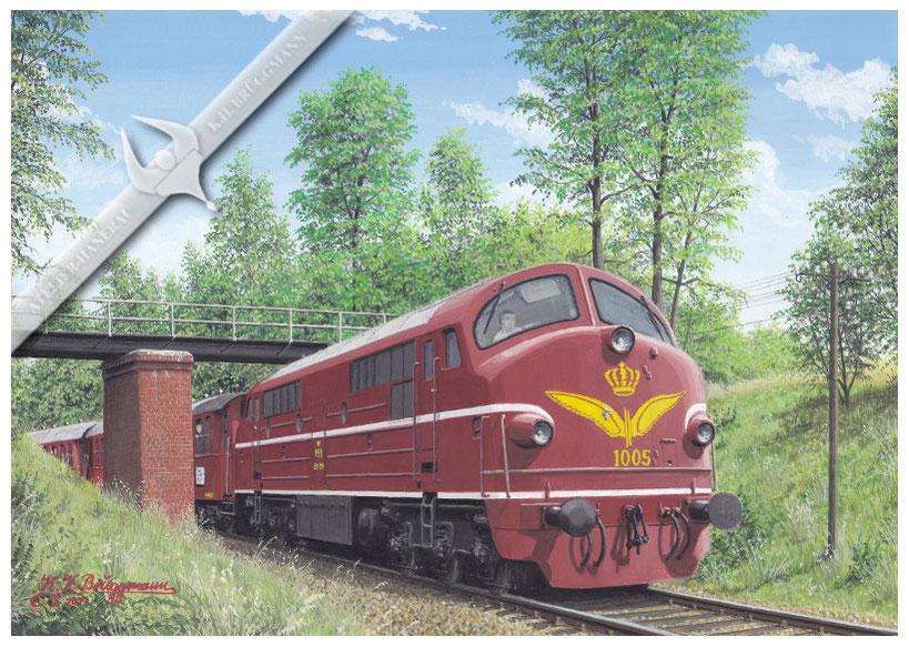 NOHAB Diesellok, DSB 1005 MX mit Feriensonderzug in den 60ern, Aquarell.