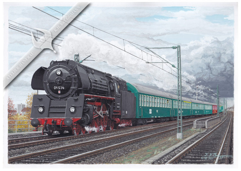 Schnellzugdampflok DR 01.5 mit Schnellzug kurz vor Hamburg-Dammtor 1965, Aquarell