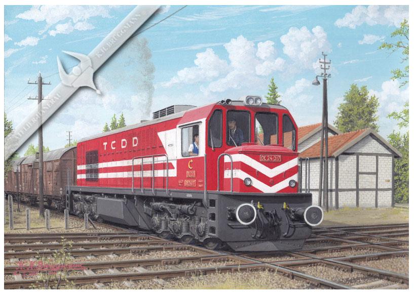 Diesellok TCDD DE 24 mit Güterzug in Izmir, 70er Jahre, hier kreuzen zwei Hauptstrecken