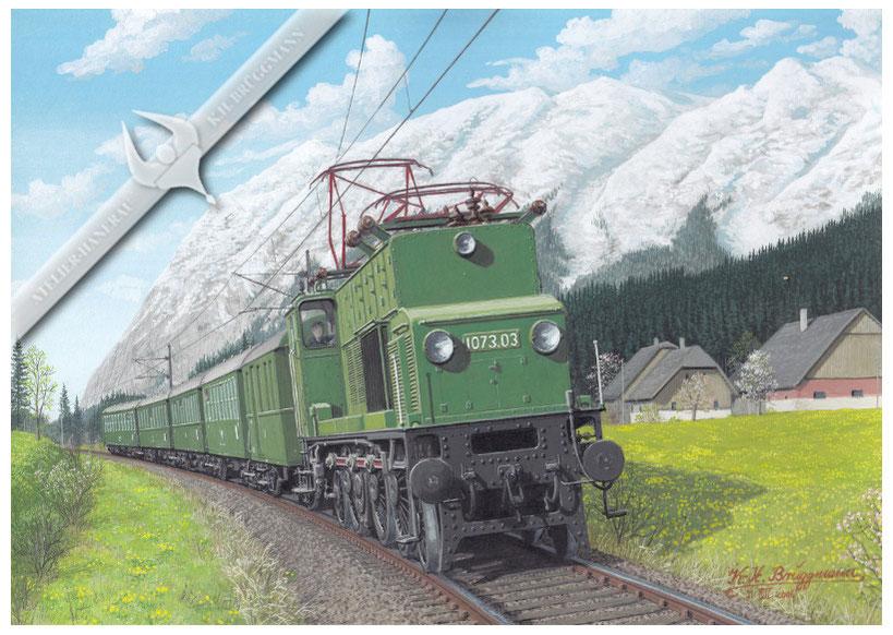E-Lok ÖBB 1073 bei Kainisch, vor dem Grimming, 70er Jahre, Aquarell