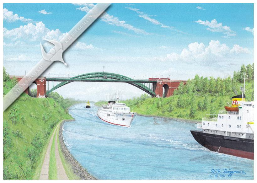 "Grünentaler Brücke, Nord-Ostsee-Kanal,  MS ""Regina Maris"" und der MS ""Erich Drescher"", 1972"