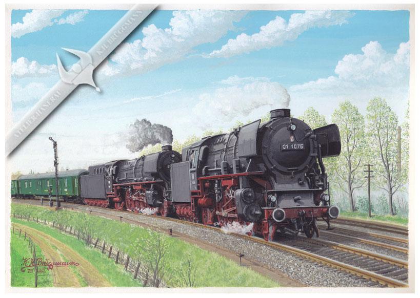 Schnellzug mit Doppeltraktion BR 01 bei Einfahrt nach Glückstadt, 60er Jahre, Aquarell