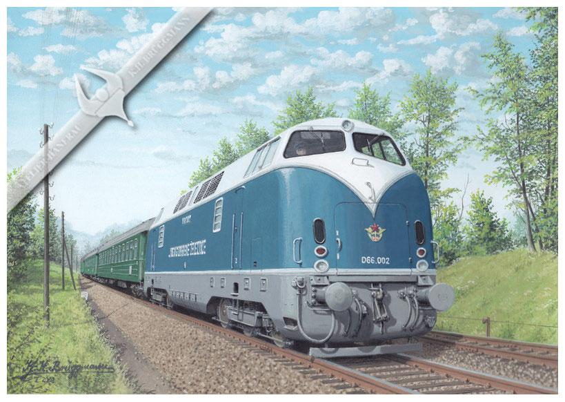 Diesellok JZ D 66.002 (Krauss-Maffei ML 2200 CC) vor Schnellzug in Richtung Zagreb, 1958