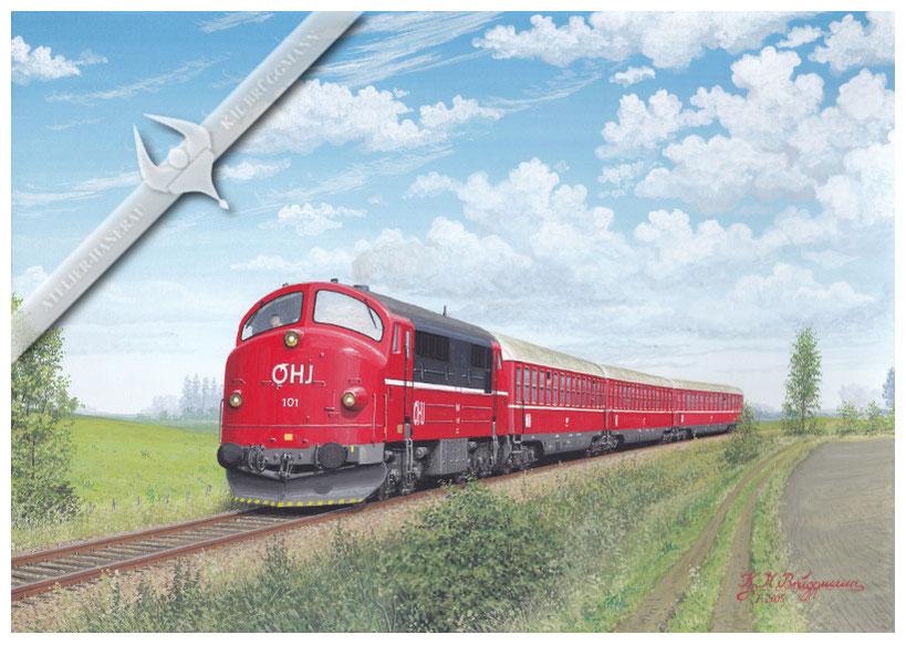 NOHAB Diesellok, OHJ 101 MX (ex DSB 1008) mit ehem. Apfelpfeilwagen der DB, von Nykobing kommend 1989, Aquarell.