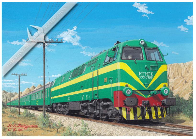Diesellok RENFE 333-039 mit Reisezugvon Barcelona in Richtung französische Grenze, 70er Jahre