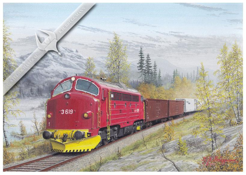 NOHAB Diesellok NSB 619 mit Güterzug in Richtung Trondheim in den 90ern, Aquarell.