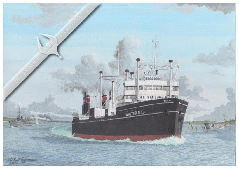 """""""Walter Rau"""" verläßt als letztes Schiff Gotenhafen, bevor der Hafen von den Sowjets eingenommen wird, Aquarell"""
