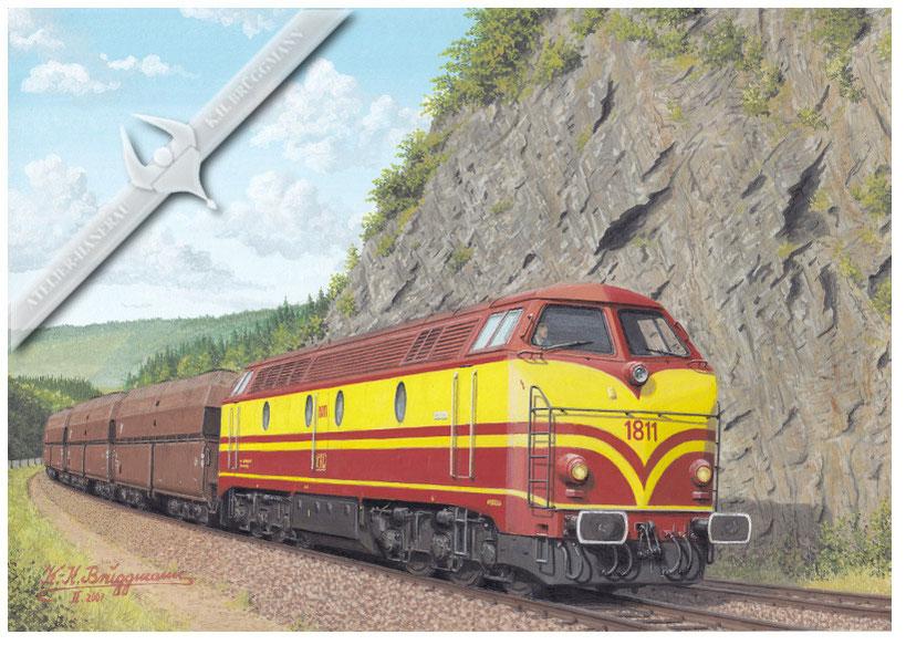 Diesellok CFL 1811 mit Kohlezug auf der Nordbahn in den 70ern