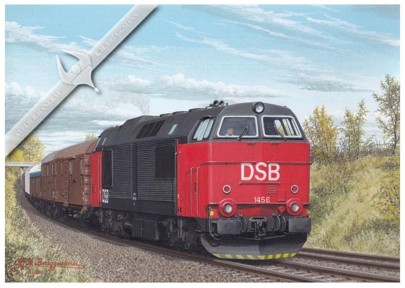 Dieasellok DSB MZ 1456 mit Güterzug zwischen Frederica und Arhus, Anfang der 80er Jahre