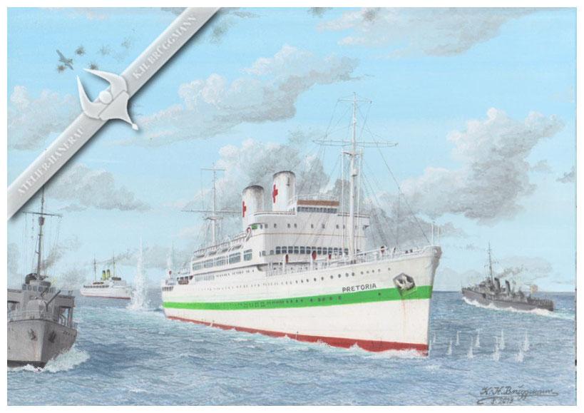 """Pretoria"", Luftangriff auf das Lazarettschiff am 15.04.1945 vor Hela, Aquarell"