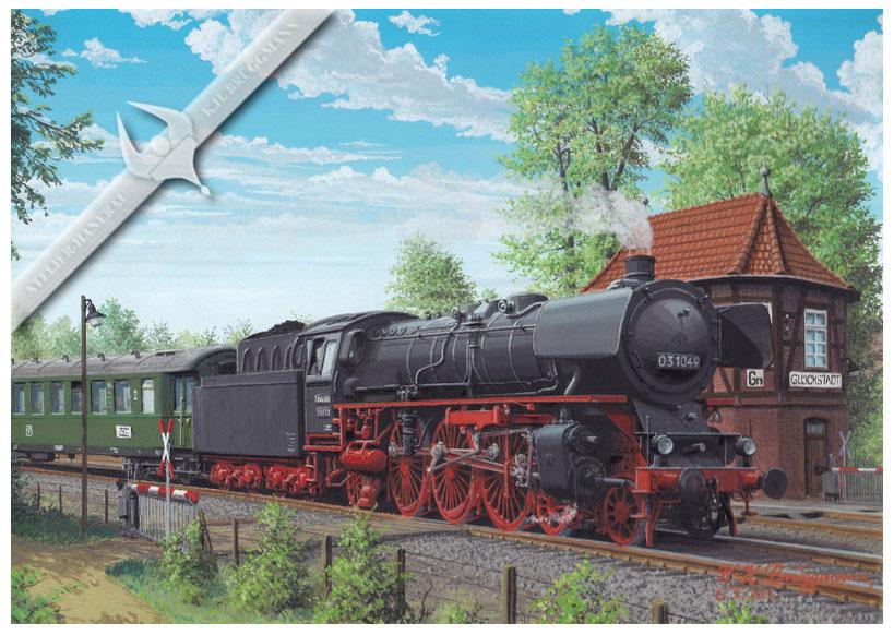03 1049 mit Eilzug Hamburg-Westerland verläßt Glückstadt 1959, Aquarell