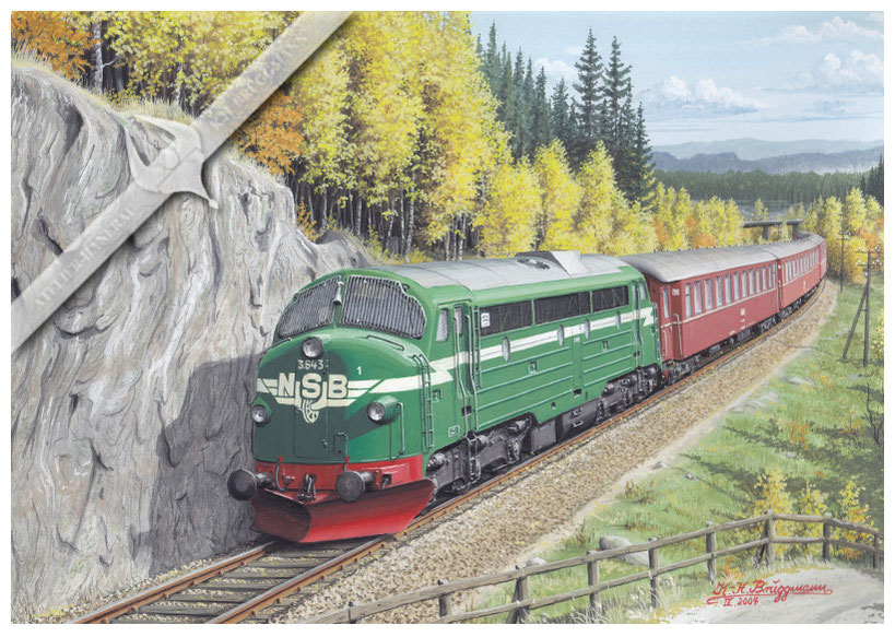 NOHAB Diesellok NSB 643 mit 5 Wagenschnellzug in den 60ern,