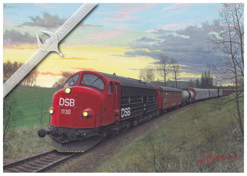 NOHAB Diesellok, DSB 1130 MY mit Güterzug in den 80ern, Aquarel