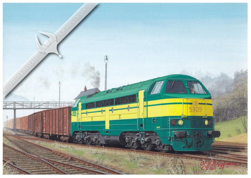 AFB Diesellok, SNCB 5309 (Umbau) bei der Abfahrt mit Güterzug 1980, Aquarell.
