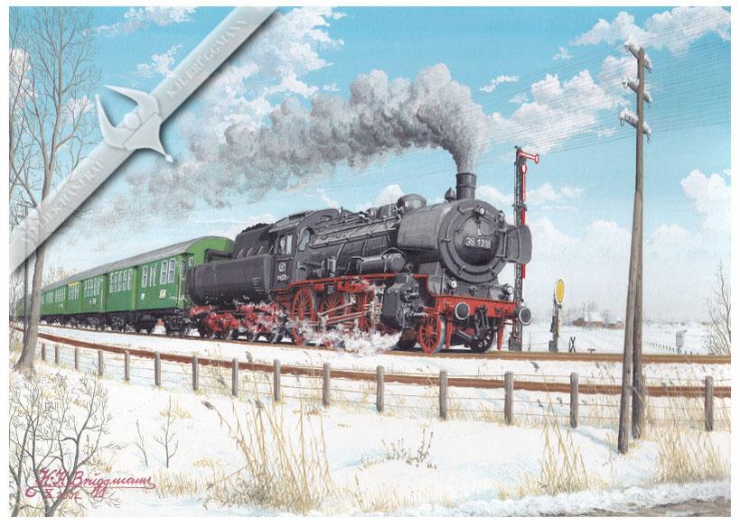 Baureihe 38 mit Nahverkehrszug Itzehoe-Hamburg bei der Ausfahrt aus Glückstadt 1960, Aquarell