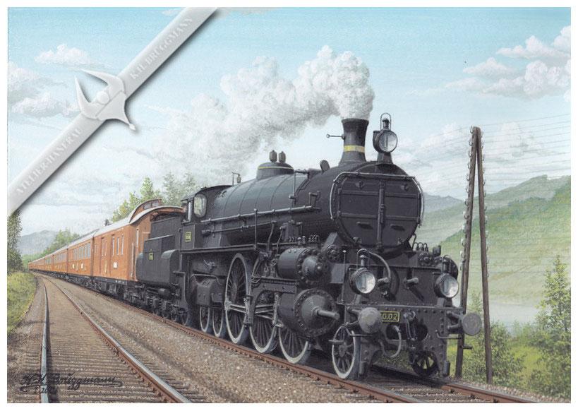 Schnellzugdampflok KkStB 310.02 mit ORIENT-EXPRESS bei Pöschlarn in Richtung Wien, 1911, Aquarell.