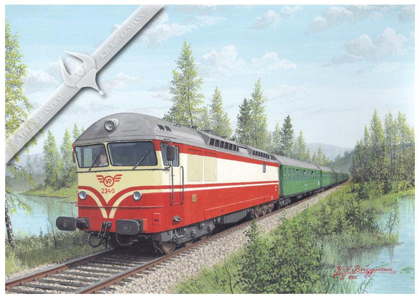 Diesellok VR 2340 mit Schnellzug in der finnischen Seenlandschaft Richtung Mikkeli, Anfang der 70er