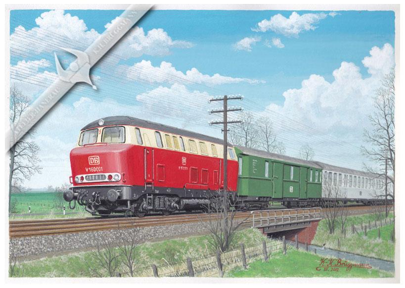 """V 160 """"Lollo"""" mit Eilzug Westerland-Hamburg kurz vor Krempe, in den 60ern, Aquarell"""