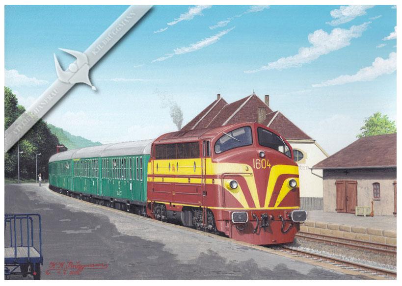 AFB Diesellok, CFL 1604 mit Personenzug bei der Ausfahrt auch Cruchten, Ende der 70er, Aquarell.