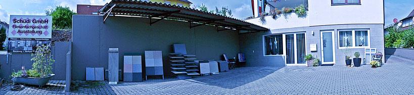 In unserem Hof können Betonplatten oder Feinsteinzeug-Elemente angeschaut werden.