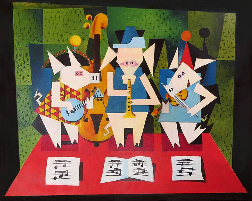 "Michael Ryba: ""Drei Musikanten"" nach Picasso (Acryl auf Leinwand, 80 x 100 cm)"
