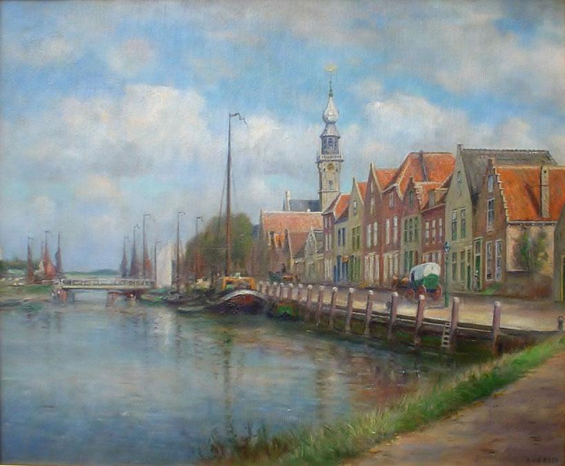 H.van der Haar, kunstenaar. Schilderij kade Veere te koop.