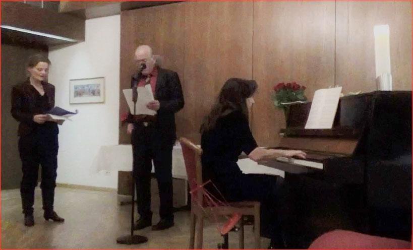 Astrologische Weihnachtsfeier 2015, Regula Theus und Kurt Scheurer, Beatric Ganz, Klavier