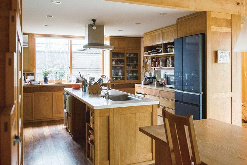 木のキッチン 経年変化 アイランドキッチン施工例