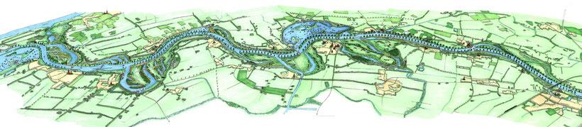 Impressie Meer Maas initiatief voor traject Ravenstein - Lith (tekening Adri Voorwinden, 2005)