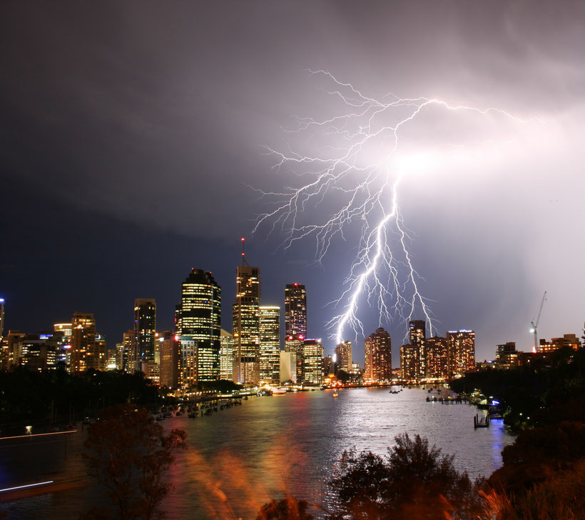 Lightning bolt over Brisbane during a Thunder Storm. From Pinterest.