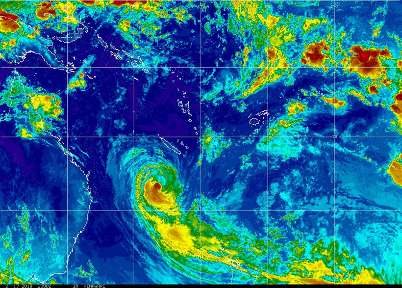 Colourised satellite image of Tropical Cyclone Gita as a category 2 Tropical Cyclone. Image from NOAA