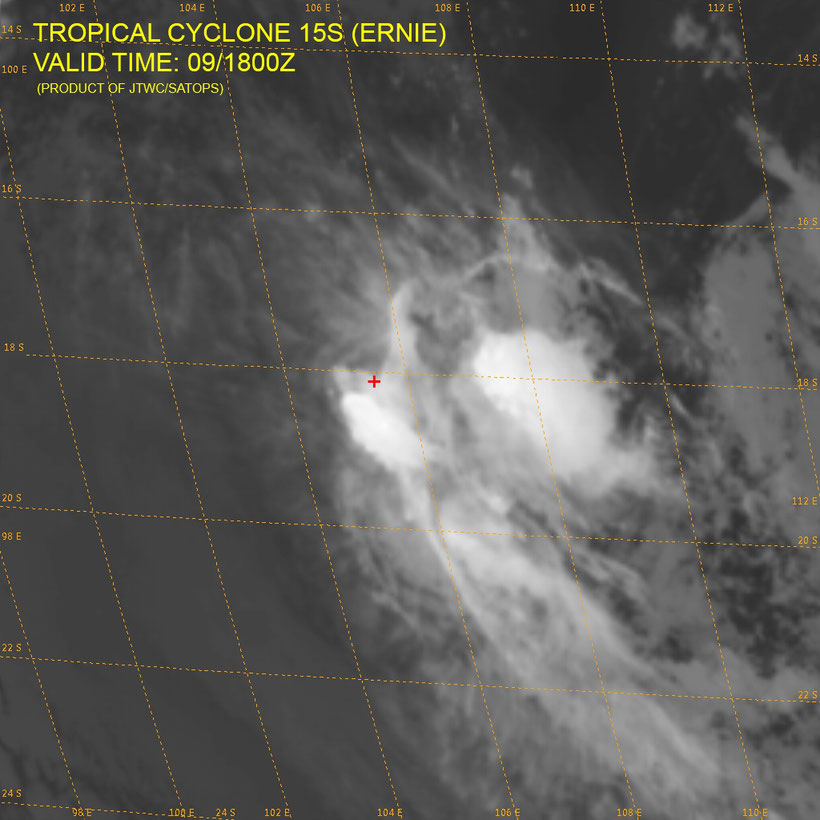 Satellite image of Tropical Cyclone Ernie. from JTWC