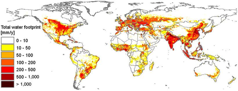Wassser-Fußabdruck der Menschheit nach Regionen von 1996 bis 2005  (mm/Jahr, Quelle: A.Y. Hoekstra & M.M.Mekonnen)