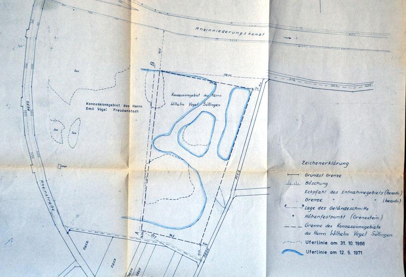 Plan über die Abbaufläche des Kieswerkbetreibers Wilhelm Vogel 1971.