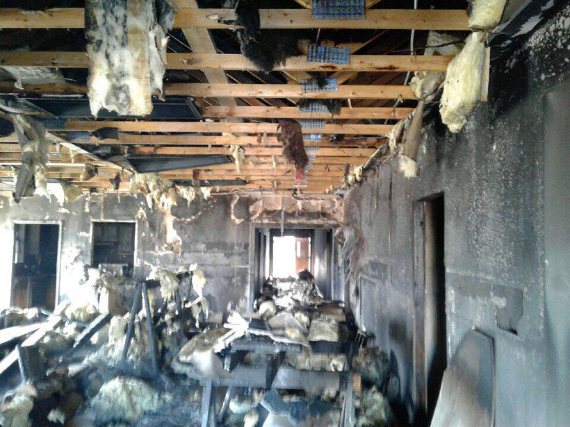 As most of the ceiling caught ablaze, heavy damage occurred throughout the entire building.
