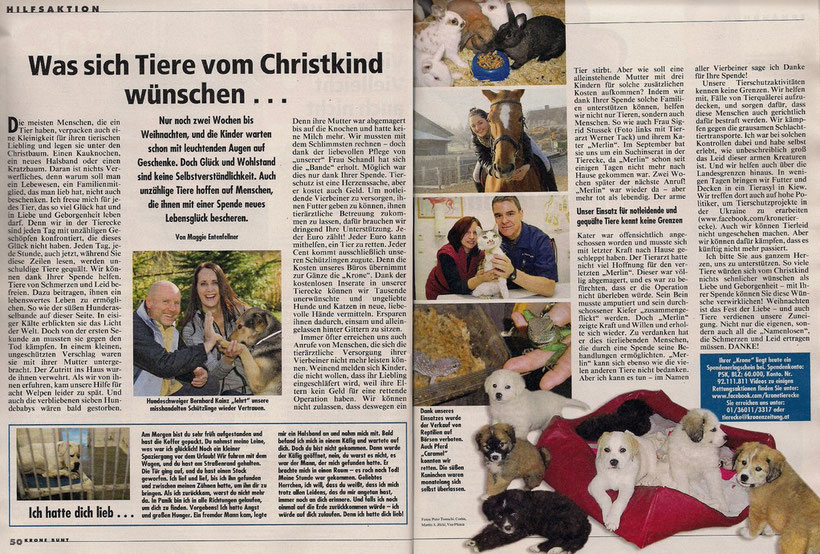 Kronen Zeitung: Was sich Tiere vom Christkind wünschen