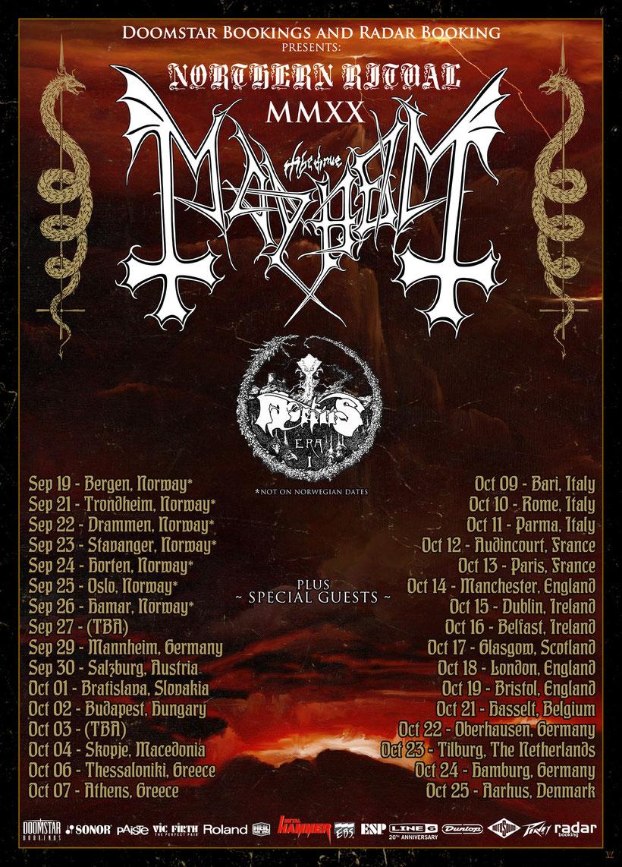 MAYHEM, Northern Ritual 2020 European Tour, Black Metal, Mortiis, Rockers And Other Animals, News