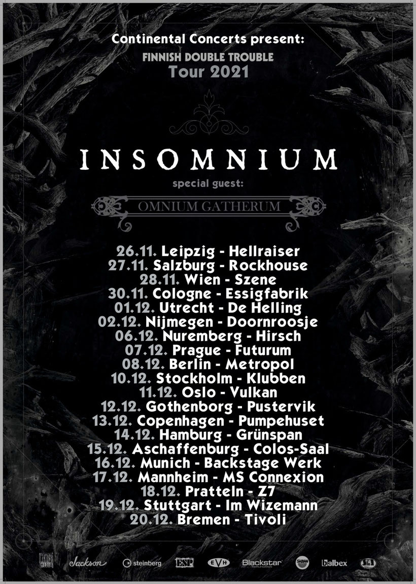 INSOMNIUM, OMNIUM GATHERUM European tour 2021, rockers and other animals