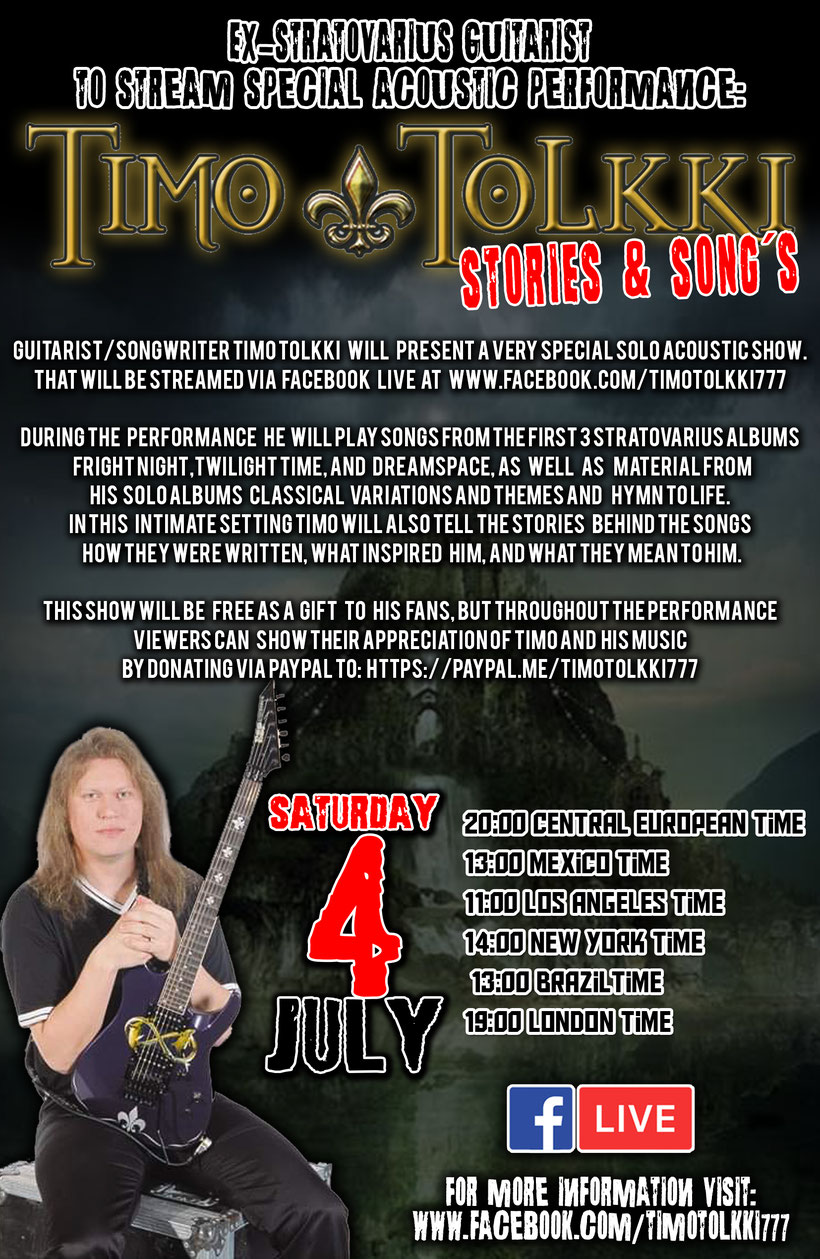 """Ex-Stratovarius guitarist Timo Tolkki to stream special acoustic performance: """"TIMO TOLKKI - STORIES & SONGS"""", rockers and other anomals mag"""