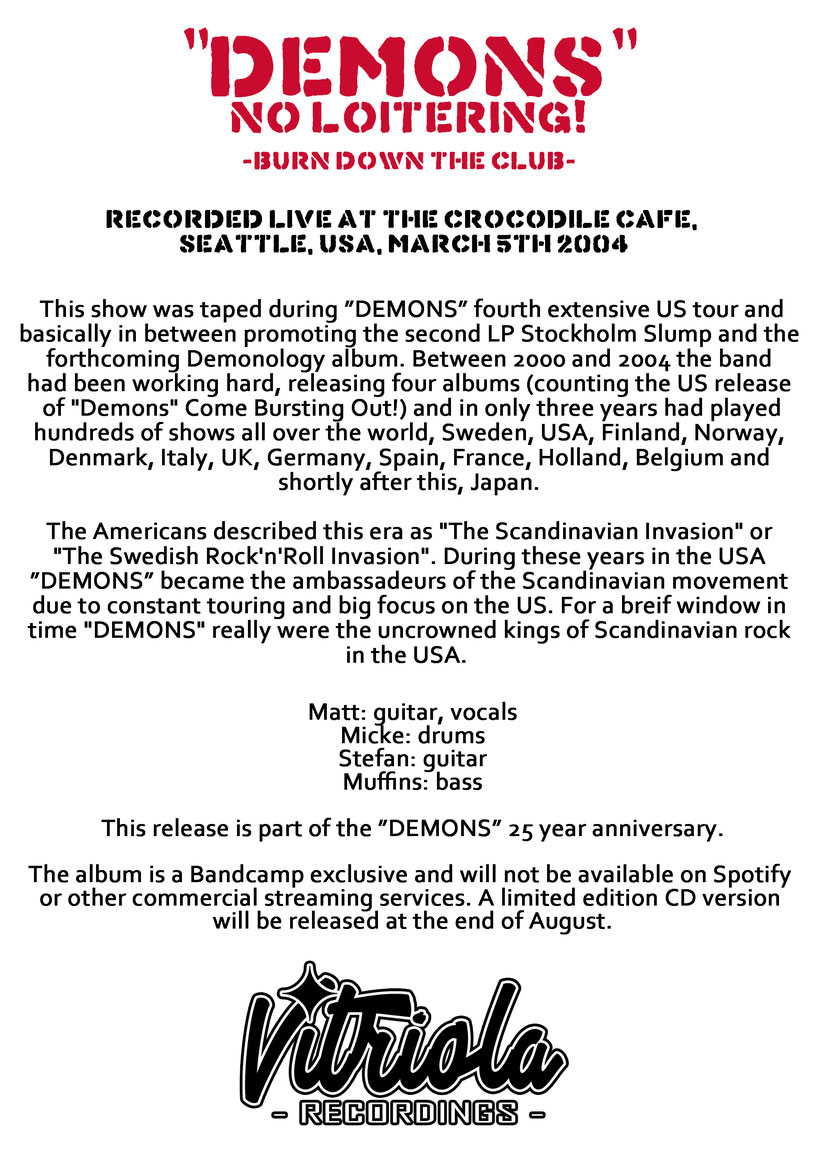"""Swedish underground punk rock veterans """"DEMONS"""" release archival live album No Loitering! to commemorate their 25 year anniversary, rockers and other animals"""
