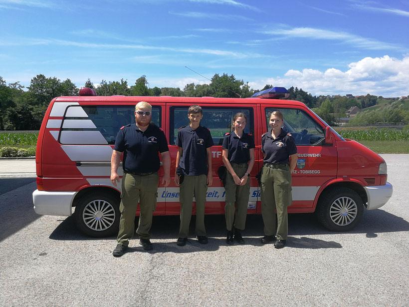 von links nach rechts: PFM Stefan L., JFM Jakob R., JFM Nicole R. sowie LM d.F. Anna S.