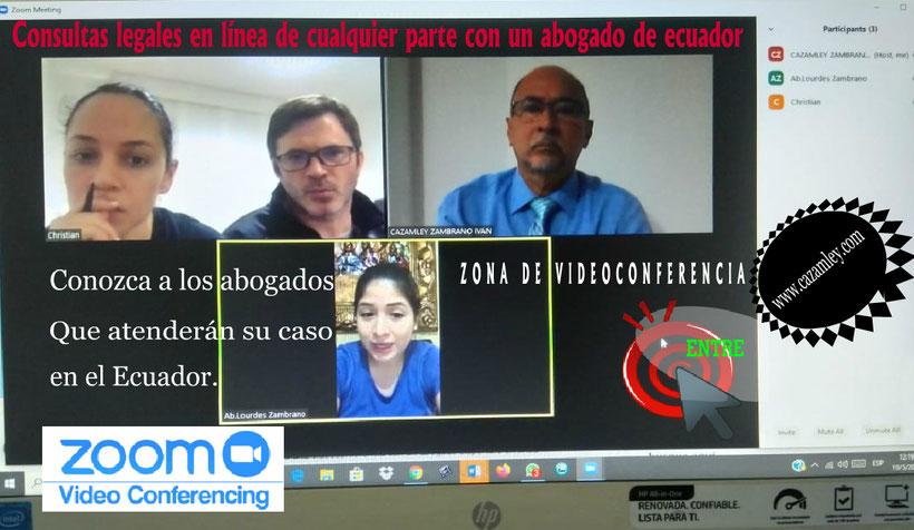 abogados en videoconferencia desde quito, colombia y estados unidos