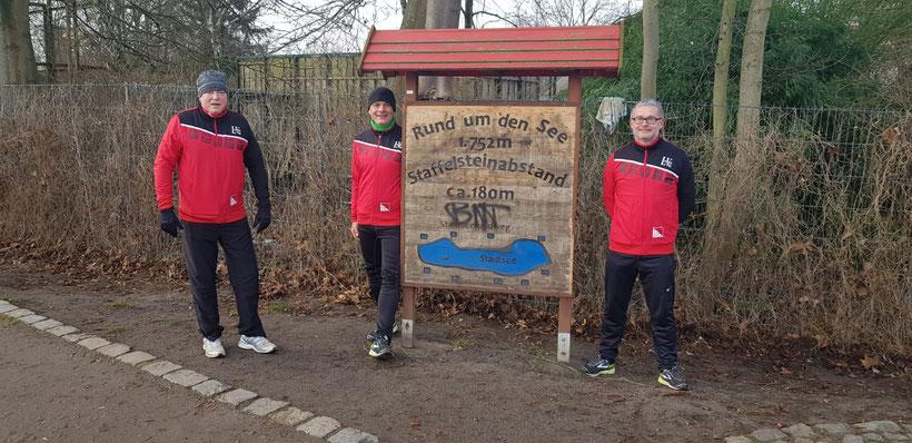 v.l. Peter Ludwig, Holger Dittrich und Gordon Koch hoffen auf viele Teilnehmer beim virtuellen Silvesterlauf