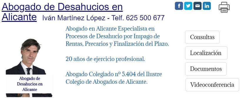 Abogado de Desahucios en Madrid - Juicio de Desahucio por Impago de la Renta en Alicante