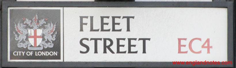 Die Fleet Street in London und die britischen Tageszeitungen: Fleet Street Straßenzeichen