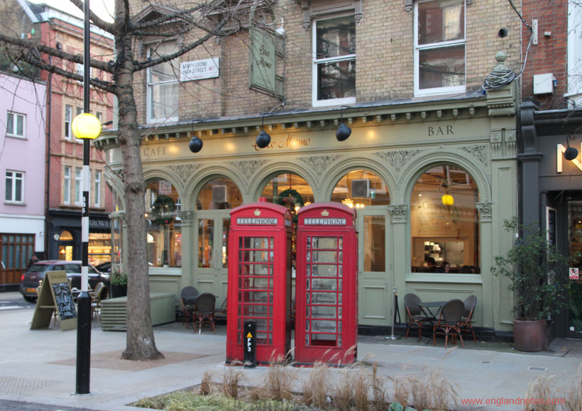 Englische Telefonzellen: englische Telefonzelle in Marylebone in London