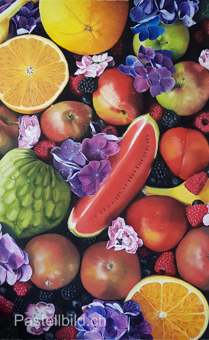 Pastellmalerei, pastel, Früchte, fruits, still life, Stillleben, epiphany