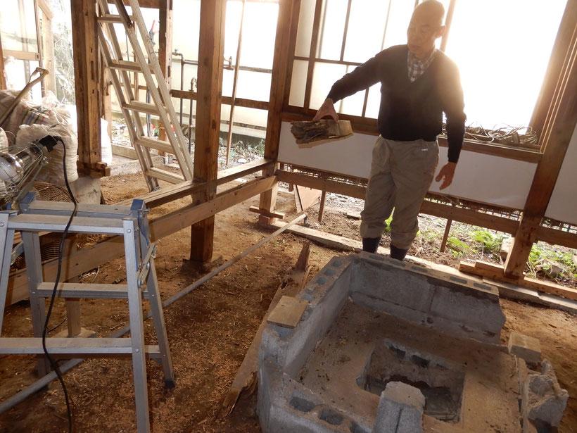 古民家再生  解体 土台と柱