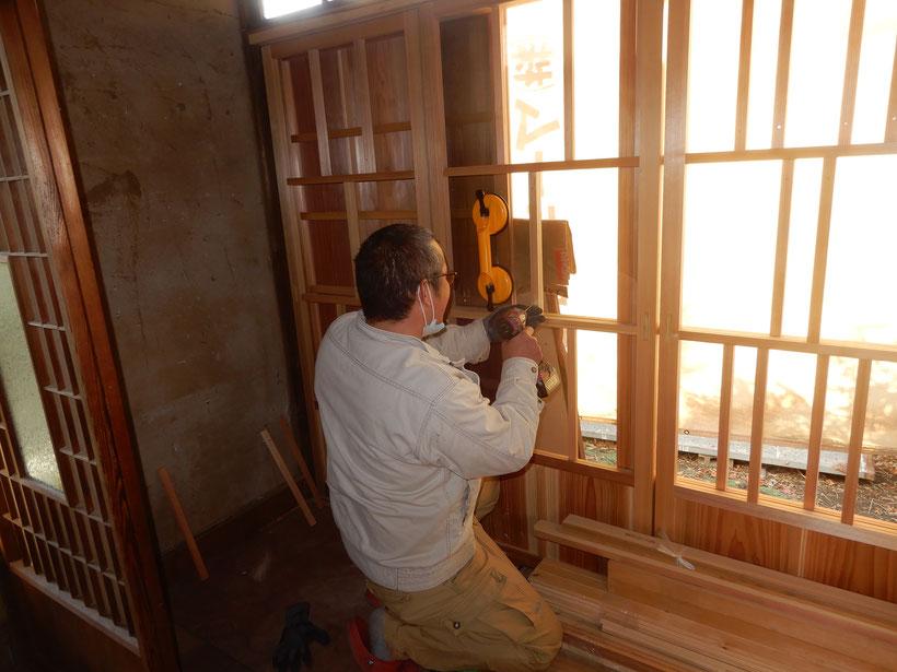 古民家再生 木製建具 ガラス工事 職人